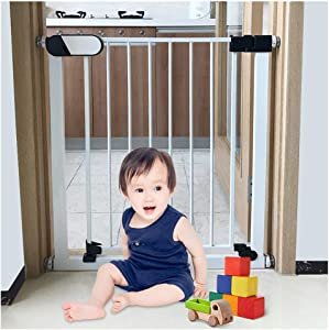 YONGYONG-Guardrail Walk Through Baby Safety Gates For Stairs Dual Lock Fireplace Fence Baby Fence Stairs Barrier Fence Pet Isolation Fence Pressure Mount  Color High76cm width  Size 152-159cm