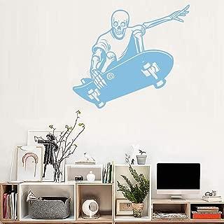 47x43cm,Wall Stickers for Bedroom,Wall Tattoo Art,Skull Skateboard Ride Teens Bedrooom Tattoo Bedroom Refrigerator Decals Waterproof Art Door Sticker Acrylic Artwork Stickers Birthday Office Murals