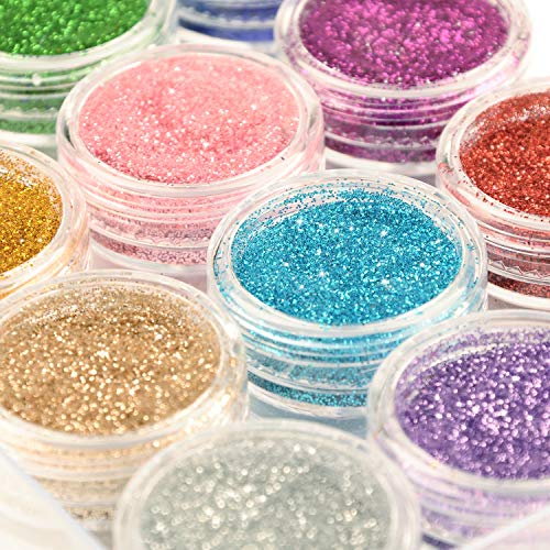 Glitter Wenida 12 Colors Holographic Cosmetic Festival Powder Sequins Craft Glitter for Arts Face Hair Body Nail