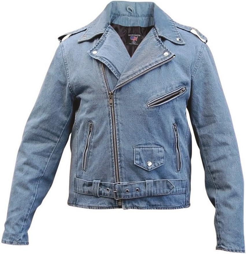 Men's AL2953 Basic Motorcycle Jacket 14 oz. Small Blue Denim