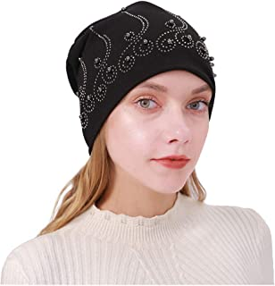 SEXYTOP Women African India Muslim Stretch Turban Hat Beading Cotton Hair Loss Head Cover Warm Ladies Head Wrap