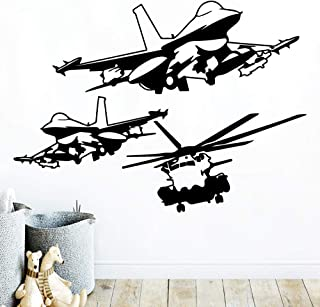 WSYYW Helicopter Waterproof Wall Stickers Wall Art Decoration Living Children's Room Wall Stickers Wallpaper Wallpaper Home and Garden Gold XL 57cm X 78cm