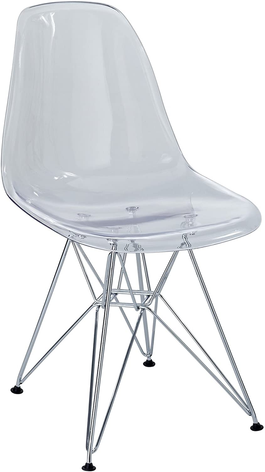 Modway Plastic Side Chair in Clear with Wire Base