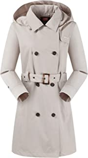 Womens Hooded Double-Breasted Trench Coat Outdoor Lightweight Rain Jackets with Belt