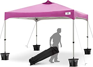 FinFree 10x10 FT Compact Ez Pop up Canopy Tent Outdoor, Folding Canopy Tent, Instant Canopy with Wheeled Carry Bag, Purple