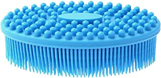 Shampoo Brush,Scalp Massager Shampoo Brush,for Cleaning Shower Scalp Care Hair,Neck and Body Massager,Silicon Scalp Massager(Silicone Teeth,Pink,Blue),Blue