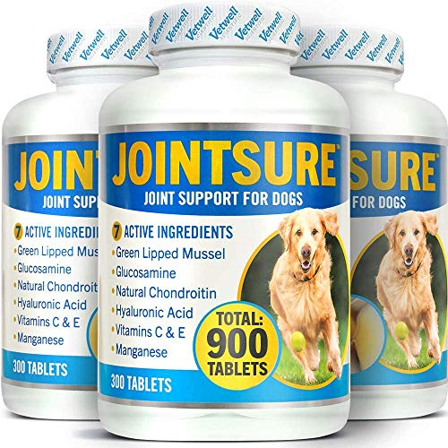 JOINTSURE 3 x Tubs of 300 Tablets Joint supplements for dogs | Green Lipped Mussel, Glucosamine & Chondroitin for dog joint care. Aids stiff joints, supports joint structure & maintains mobility.