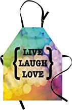 ABAKUHAUS Vive Ríe Ama Delantal de Cocina, Frase Sabia, Resistente al Agua y la Suciedad Estampa Digital, Multicolor