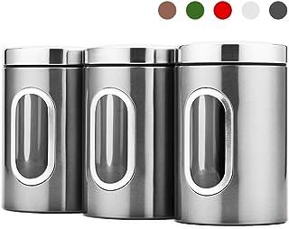Blusea 3 Vorratsdose Lebensmittel Aufbewahrungsbehälter Edelstahl Luftdicht Vorratsbehälter mit Deckel und Transparentem Sichtfenster für Tee, Getreide, Trockenfrüchten, Tiernahrung 1.5L Silber