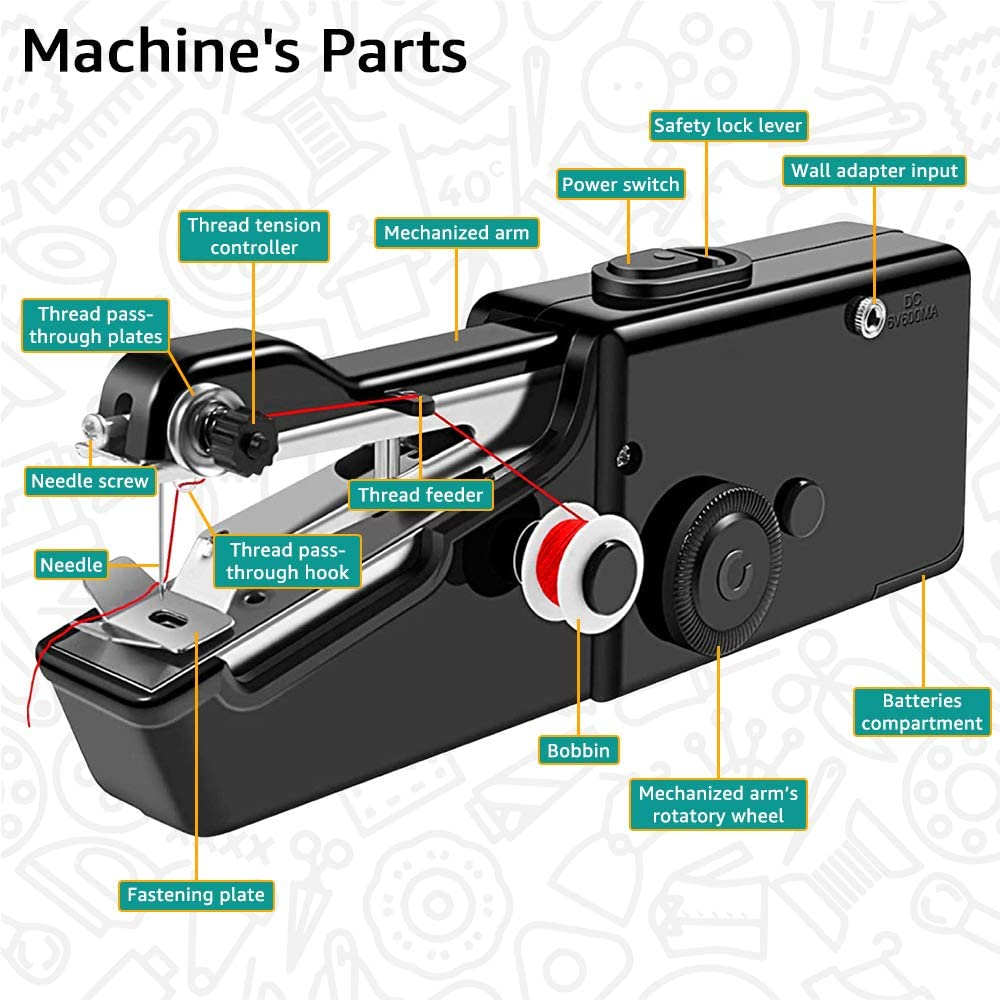 100/% Copper Motor Black Handheld Sewing Machine Can Sew Even The Biggest Stuff