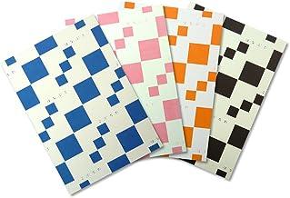 HANABUSA(はなぶさ) B6 ホワイトノート 4色アソート(ブルー、ピンク、オレンジ、ブラック 各色1冊 合計4冊セット)