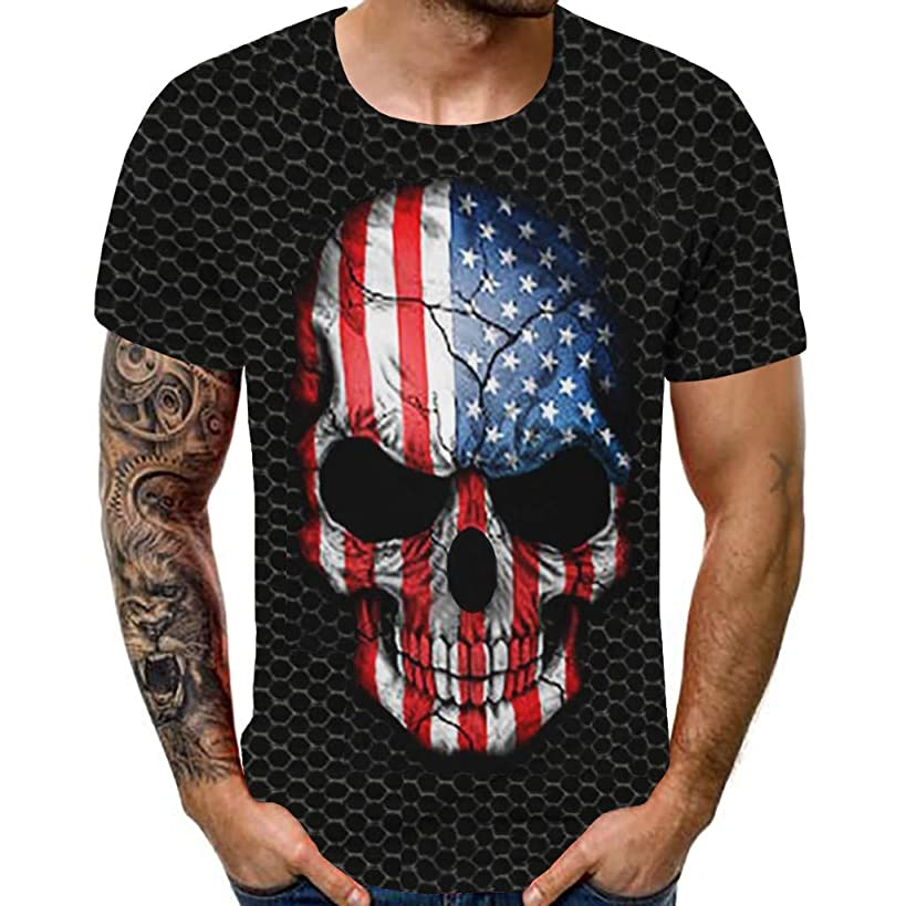 Mens Shirts,BOLUBILUY Independence Day Tops Casual Short Sleeve American Flag Printed Patriotic 4th July