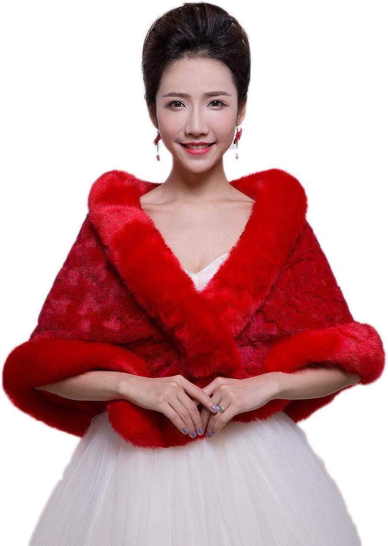 AK Beauty Women's Faux Fur Warm Dress Shawl for Winter Weddings