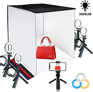 Travor Photo Light Box Portable 24''x24'' Photography Studio Box Shooting Tent Kit with 4 Color Backdrops, 12 Filters and Phone Holder for Photography Product