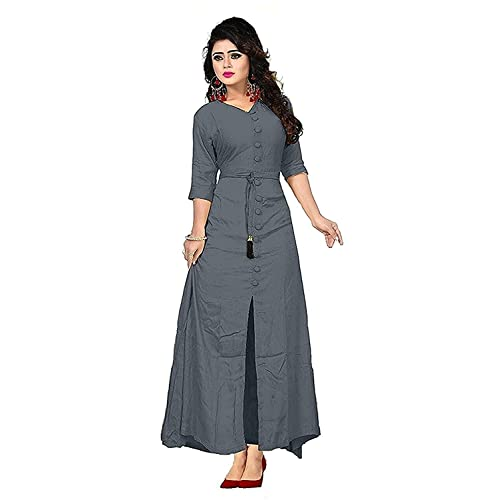 74c5c809d02a Vaidehi Creation Women Long Sleeve V-neck Full Stitch Long Dress (Color   Grey