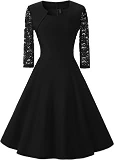 Women's Retro 3/4 Lace Sleeve Fit and Flare A-Line Midi Cocktail Party Dress