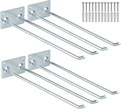 Wall-Mounted Steel Long-Handled Tools Storage Rack, 12 Inch Steel Garage Utility Double Hooks Organizing Ladders, Rakes, Hose, Shovel, Brooms, Max Capacity 55Lbs (Pack of 4)