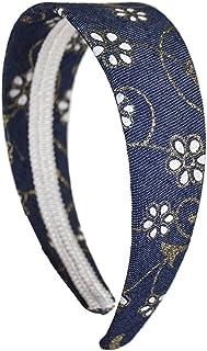 2 Inch Dark Denim Headband with Glitter Flowers