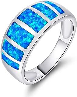 VOLUKA 18K White Gold Plated Opal Rings Band for Women Men as Promise Ring Engagement Ring