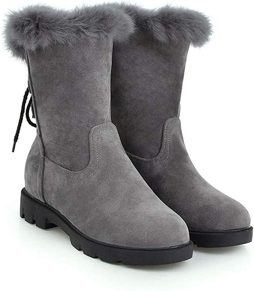 Caddy Wolfclaw Women Suede Back Lace Up Mid Calf Boots Winter Fur Lined Snow Boots Retro Motorcycle Boots Grey
