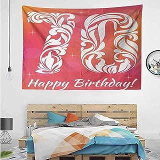HuaWuChou Foral Happy Birthday Tapestry Art Print, Wall Art Decoration Window Curtain Picnic Mat, 80W x 59L Inches