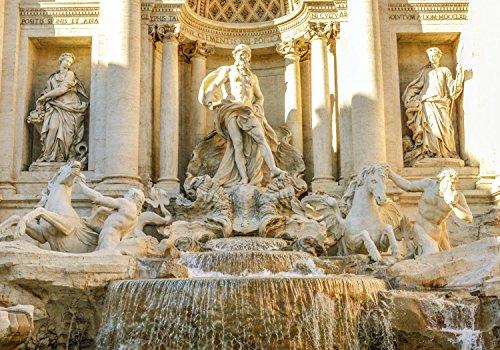 wandmotiv24 Fototapete Italien Trevi-Brunnen in Rom L 300 x 210 cm - 6 Teile Fototapeten, Wandbild, Motivtapeten, Vlies-Tapeten Architektur, Stadt, Urlaub M0801
