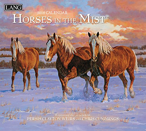 """LANG - 2018 Wall Calendar -""""Horses in The Mist"""", Artwork by Persis Clayton Weiors & Chris Cummings - 12 Month - Open 13 3/8"""" X 24"""""""