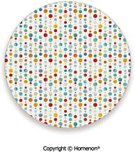 Circular Large Dots Bubble Happy Hipster Kids Nursery Stylish Fun Print,Cup Coasters With Anti Scratch Cork Back Multicolor,3.9×0.2inches(4PCS),Make Your Home Decor Style
