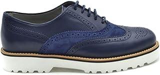 HOGAN Women's MCBI38152 Blue Leather Lace-Up Shoes