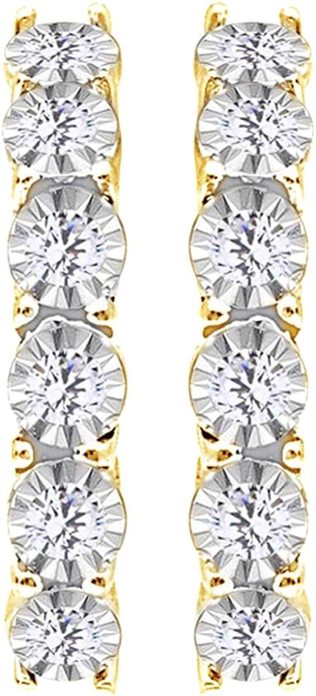 Creolen, 0,33 kt WeiGold, rund, weier Diamant in 14 Karat (585)
