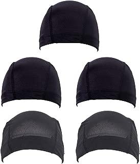 Fani 5 Pack Mesh Dome Wig Cap Spandex Stretchable Hairnet Breathable Black Weaving Cap for Women