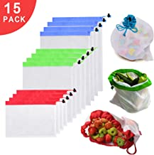 Reusable Mesh Produce Bags - Premium Eco Friendly Mesh Bags with Drawstring For Grocery Shopping Storage, Fruit and Vegetable - Set of 15