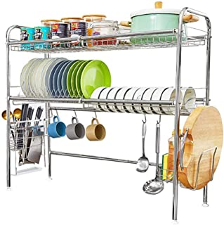 HEOMU Over The Sink Dish Drying Rack,2-Tier Dish Drainers for Kitchen Counter Made of Length Adjustable Stainless Steel