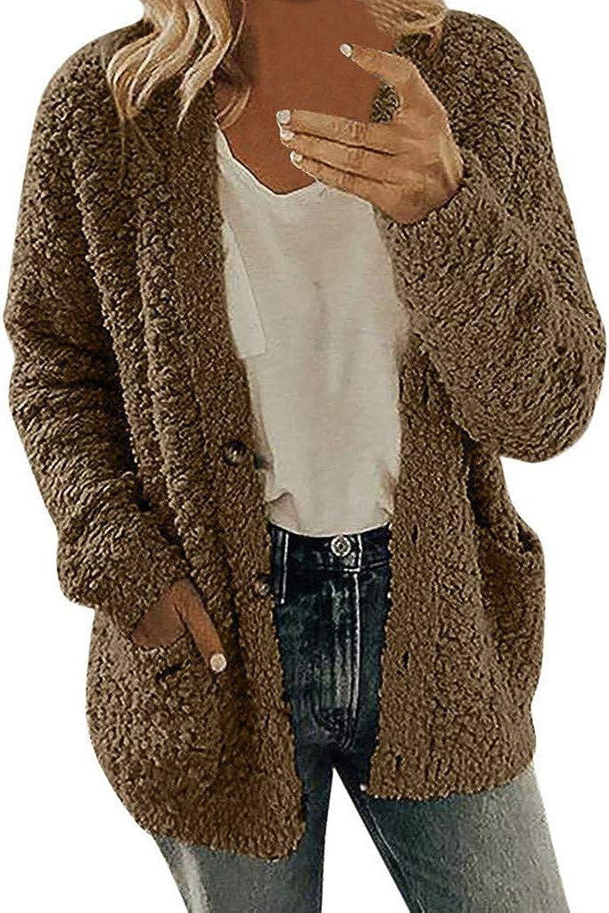 Women's Plain Long Sleeve Button Down Fluffy Sherpa Jacket with Pockets Fuzzy Fleece Teddy Coat Faux Fur Outwear