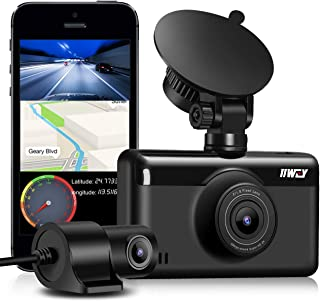Dual Dash Cam 1440P & 1080P, Built-in WiFi GPS Car Dashboard Camera with 3 Inch IPS Touch Screen, Front and Rear Camera for Cars with Night Vision, Support 128G, Parking Monitor, Motion Detection