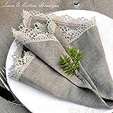 Linen & Cotton 4 x Luxus Stoffservietten Celeste, 100% Leinen – 39 x 39cm (Natur/Grau/Beige) - 2