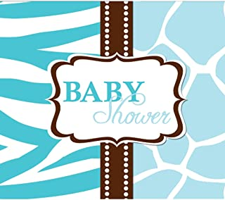 Creative Converting Baby Shower Wild Safari Blue 8 Count Enhanced Invitations