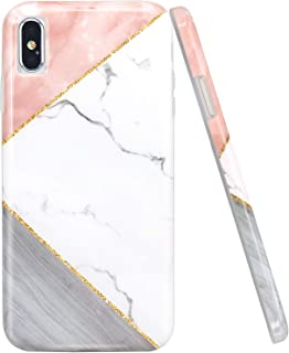 JAHOLAN iPhone X Case iPhone Xs Case Pink Geometric White Marble Design Clear Bumper Glossy TPU Soft Rubber Silicone Cover Phone Case for iPhone Xs iPhone X