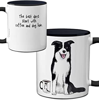 Border Collie Dog Hair Mug by Pithitude - One Single 11oz. Black Coffee Cup