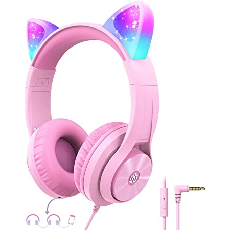 Cat Ear Led Light Up Kids Headphones with Microphone, iClever HS20 Wired Headphones -Shareport- 94dB Volume Limited, Foldable Over-Ear Headphones for Kids/School/iPad/Kids Tablet/Travel (Pink)