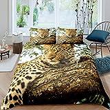 Loussiesd Juego de cama de leopardo para niñas y niños, 3D Safari Cheetah Ropa de cama y lino de animales salvajes funda de edredón funda de edredón Nature Super King, 3 piezas