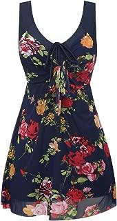 Women's Plus Size Swimdress Flower Printed Swimwear Cover Up Swimsuits