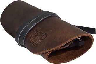 Rustic Leather Sunglass Wrap/Slim Travel/Soft Eye Glasses Storage Handmade By Hide & Drink -- Bourbon Brown, SMALL