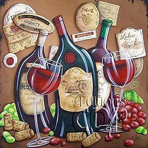 KELDOG® Rode wijn puzzel 1000 stuk houten puzzel, voor volwassenen uitdagend diy puzzelspel speelgoed, moderne kunstliefhebber cadeau bruiloft decoratie