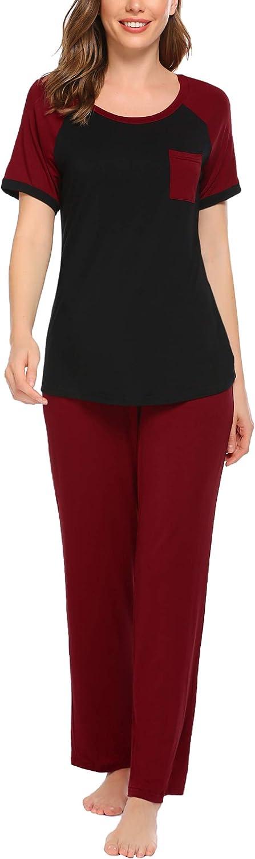 Ekouaer Women's Pajamas Set Soft Sleepwear Pjs Set Short Sleeve Tops and Pants with Pockets S-XXL