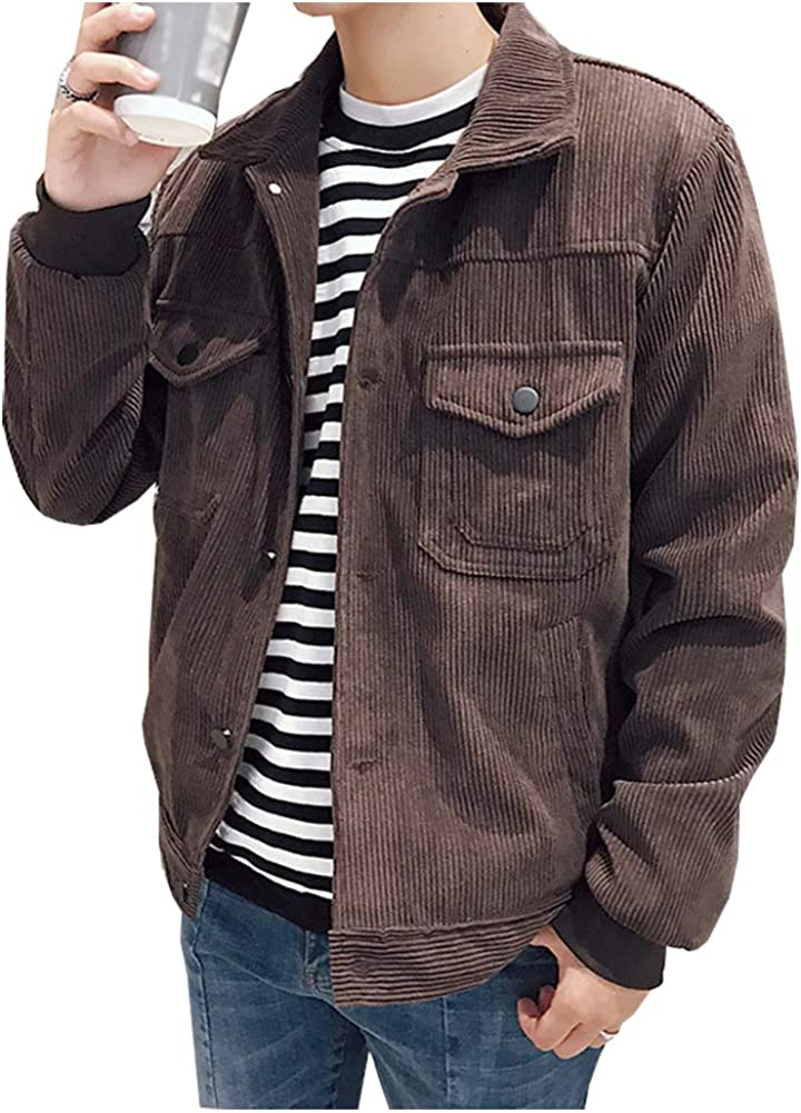 Men's Casual Corduroy Jacket Loose Large Pocket LapelLong Sleeve Jacket Shirt Coat
