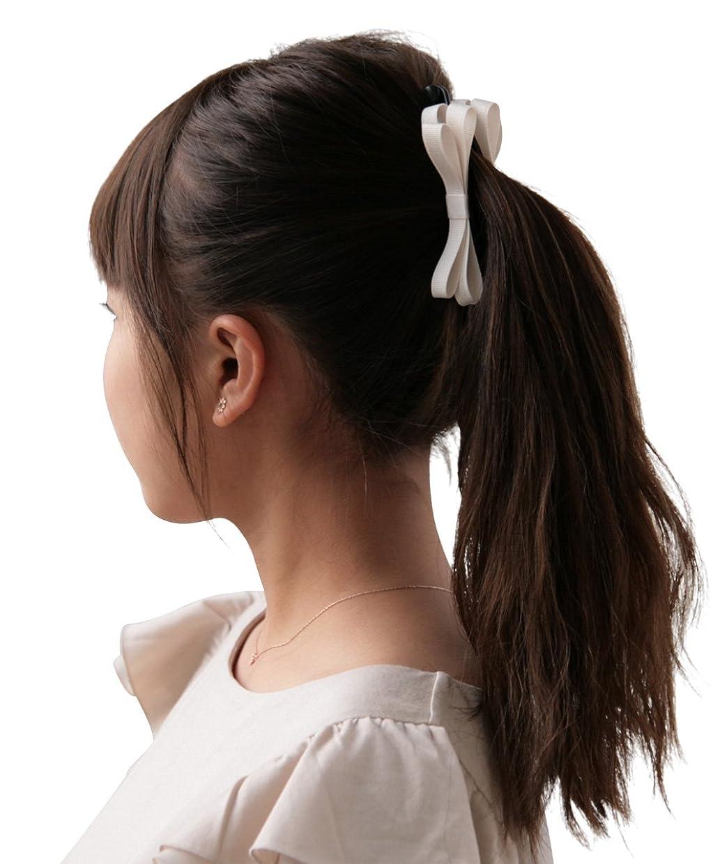 端末リングバックテロリストボナバンチュール(Bonaventure) ミルフィーユ リボン バナナクリップ グログラン 小さめ レディース ヘアアクセサリー 人気 ブランド ヘアクリップ 髪留め アイボリー