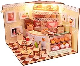 [リトルスワロー] ミニチュア ショップ ドールハウス DIY 屋根付き LED付き インテリア 雑貨 模型 工作キット 組み立てキットtoy 3d キッズ 部品 プレゼント お菓子 モデル ランプ (ケーキショップ)