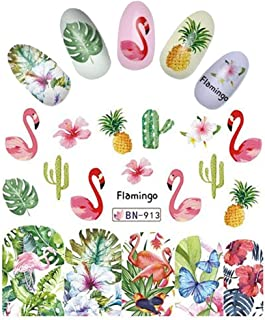 Pinapple Catcus Butterfly Pink Flamingo Nail Wrap Decals Sticker Salon Quality Nail Art - 1 Sheet