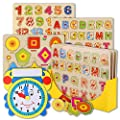 Wooden Peg Puzzles for Toddlers – (Pack of 3 with Foam Learning Clock) Educational Preschool Puzzles for Toddlers 1 2 3 Year Old Kids Boys Girls Babies 12 18 36 Months Children Math Learning Set